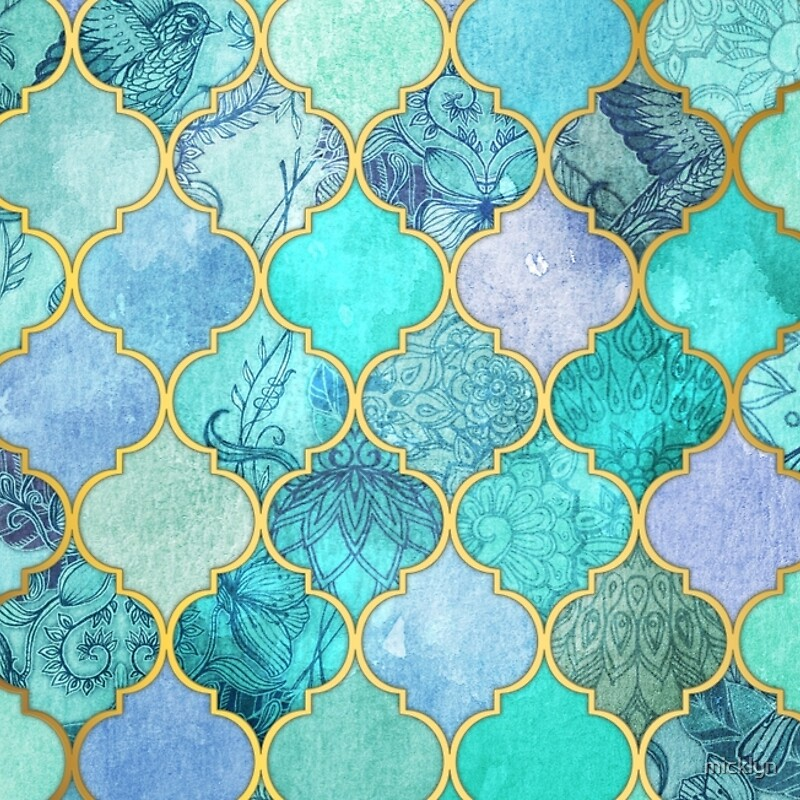 Cool Jade Icy Mint Decorative Moroccan Tile Pattern Laptop
