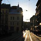 Tramrails at sunset by Elena Skvortsova