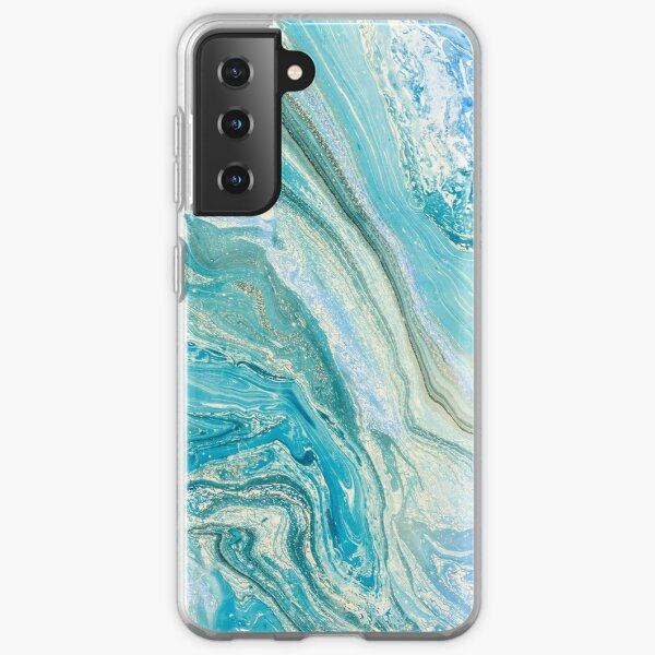 Turquoise Blue Green Liquid Marble Abstract Artwork Samsung Galaxy Soft Case