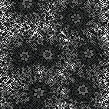 Aboriginal Art Authentic - Waterhole Dreaming B&W by HogarthArts