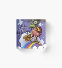 Save the World Pollution Girl Pollution Rise Rainbow Against Pollution Polluted World Acrylic Block