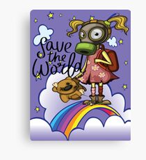 Save the World Pollution Girl Pollution Rise Rainbow Against Pollution Polluted World Canvas Print