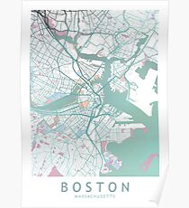 Boston Stadtplan USA Poster