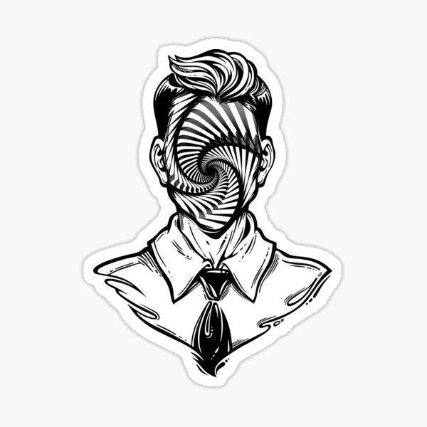 Hand drawn portrait of a weird man with anonymous face. Sticker