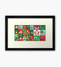 Advent Calendar with Christmas Attributes and Christmas Ornaments Framed Print