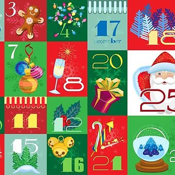 Advent Calendar with Christmas Attributes and Christmas Ornaments by IrinkaArt