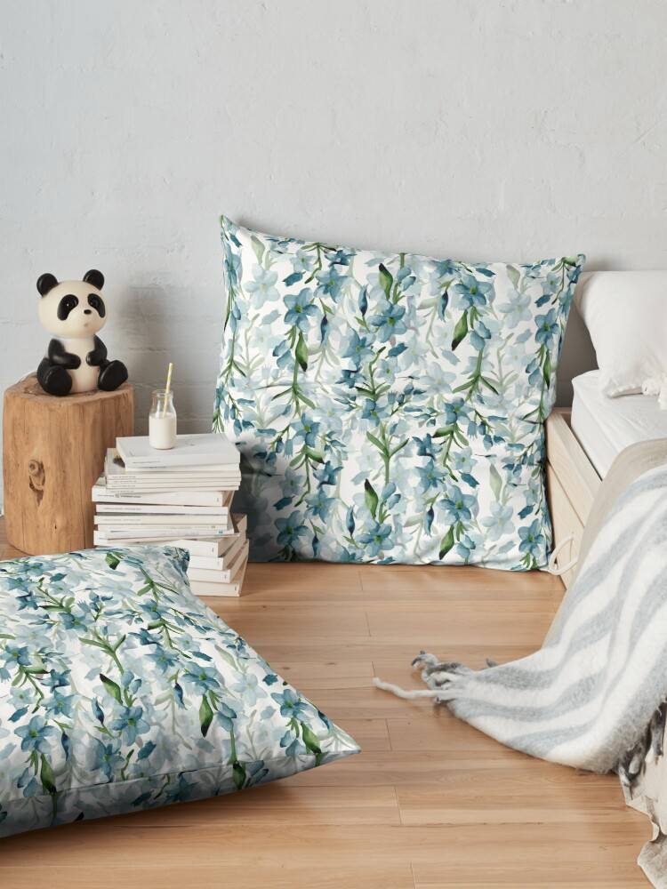 Alternate view of Blue branches Floor Pillow