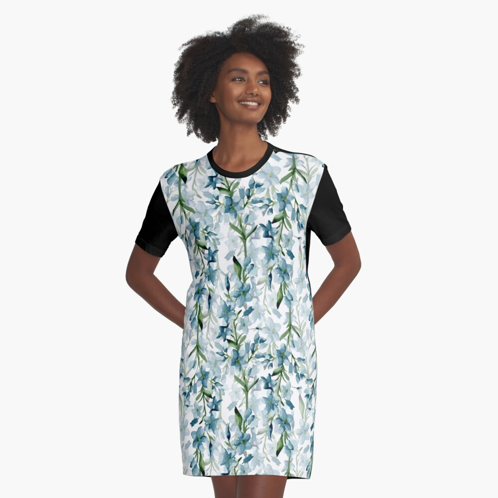 Blue branches Graphic T-Shirt Dress