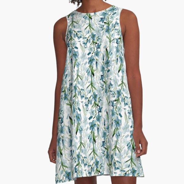 Blaue Zweige A-Linien Kleid