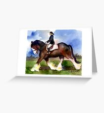 Clydesdale Horse Under Saddle Portrait Greeting Card