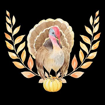 Thanksgiving - Watercolor Turkey, Pumpkin and Wreath by UllUDesign