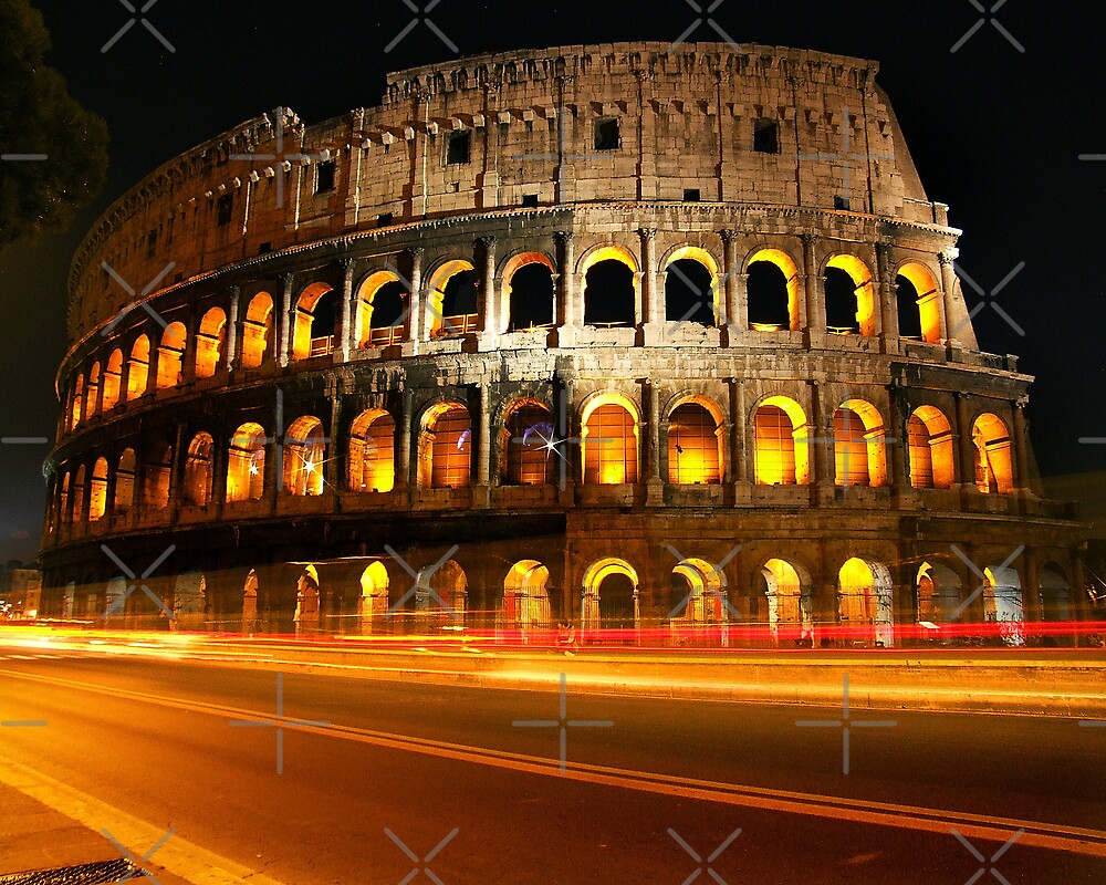 Roman Coliseum with light trails by Charlie Reds