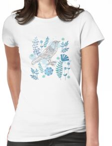 Bird with flowers Womens Fitted T-Shirt