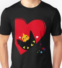 BLACK CAT,COCKATIEL,HEARTS Unisex T-Shirt