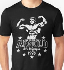 Arnold Herr Olympia NYC Classic 1970 Bodybuilding Gym Slim Fit T-Shirt