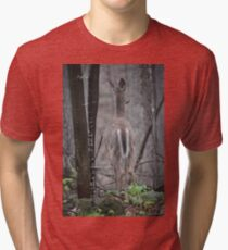 Deer Looks in Ravine Tri-blend T-Shirt