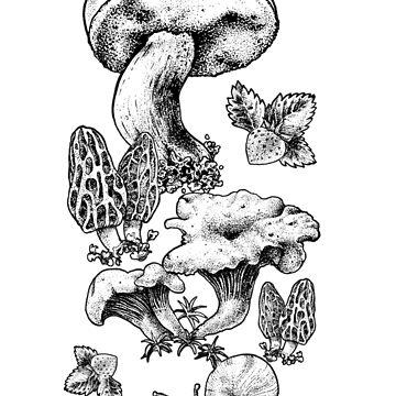 Mashrooms black and white by rottenfantom