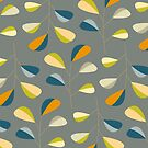 Mid Century Modern Graphic Leaves Pattern 3. Slate Grey by Dominiquevari