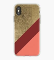 Modern gold foil burgundy peach color block geometric stripes pattern by Girly trend iPhone Case
