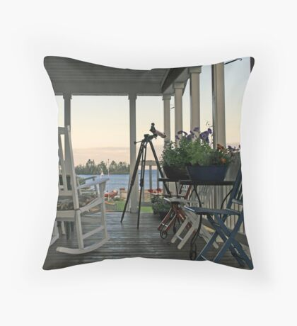 chairs on porch Throw Pillow
