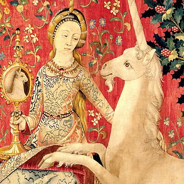 LADY AND UNICORN ,SIGHT Red Green Fantasy Flowers,Animals Detail by BulganLumini