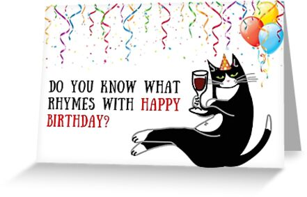 Wine Birthday Card Cat Black Happy