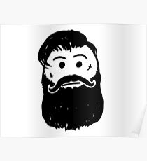 Vector Stick Man Cartoon of Hipster with Facial Tattoo, Mustache and Beard or Facial Hair Poster