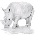 Rhino Pencil Sketch by Linda Ursin
