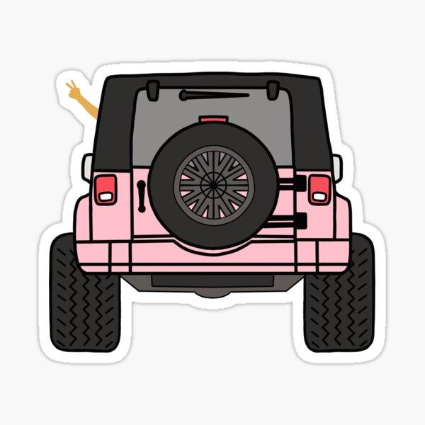 Vista trasera de la ola del jeep - Jeep rosado Pegatina
