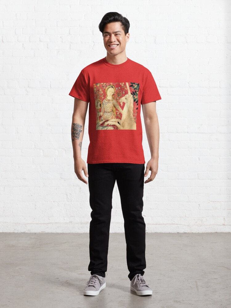Alternate view of LADY AND UNICORN ,SIGHT Red Green Fantasy Flowers,Animals Detail Classic T-Shirt