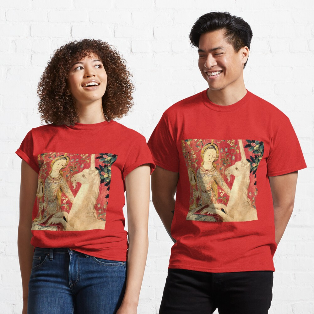 LADY AND UNICORN ,SIGHT Red Green Fantasy Flowers,Animals Detail Classic T-Shirt
