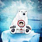 Whimsical Polar Bear Hug by jitterfly