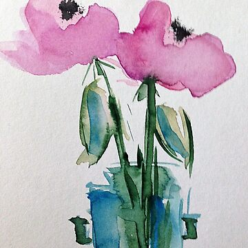 Watercolor pink flowers in the vase by Britta75