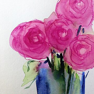 Watercolor pink roses in the vase by Britta75