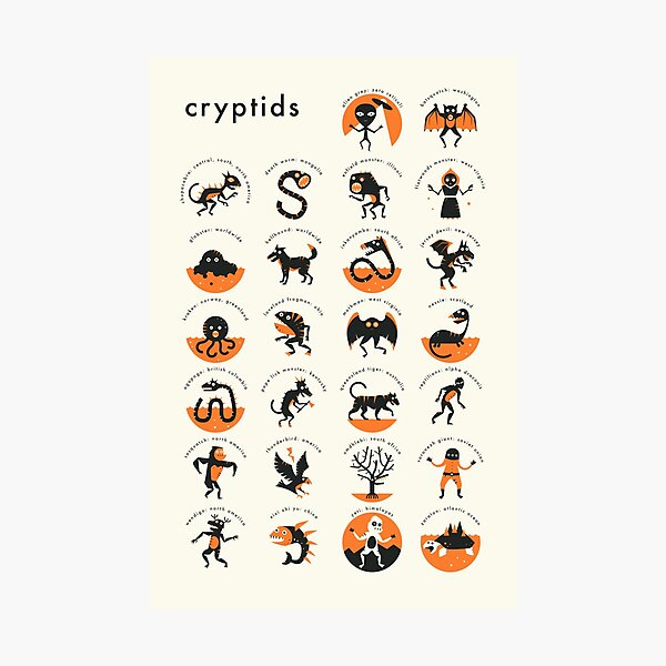 CRYPTIDS A-Z Photographic Print
