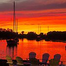 Blood Red Sunset At the Dock by Nancy Richard