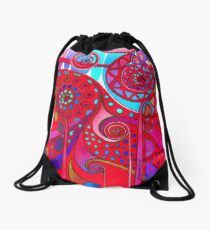 AURORA BOREALIS RED Drawstring Bag