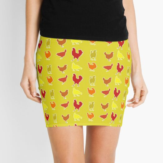 Cute Chicken Farm Pattern in Yellow Mini Skirt