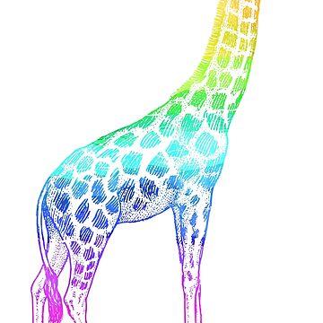 Colorful Giraffe Rainbow Graphic Artistic T-shirt by zcecmza