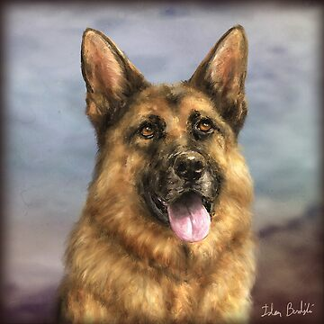 Painting of a Gorgeous German Shepherd with its Tongue Out by ibadishi