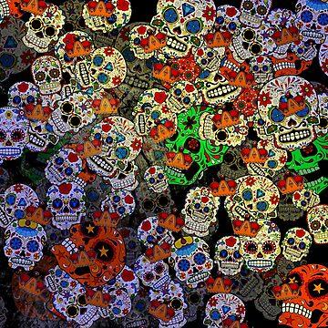 Colorful Sugar Skulls by creepyjoe