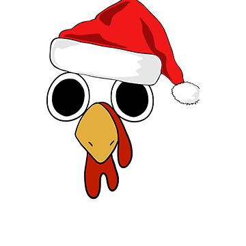 Happy Thanksgiving Turkey Face With Santa Christmas Hat by galleryOne