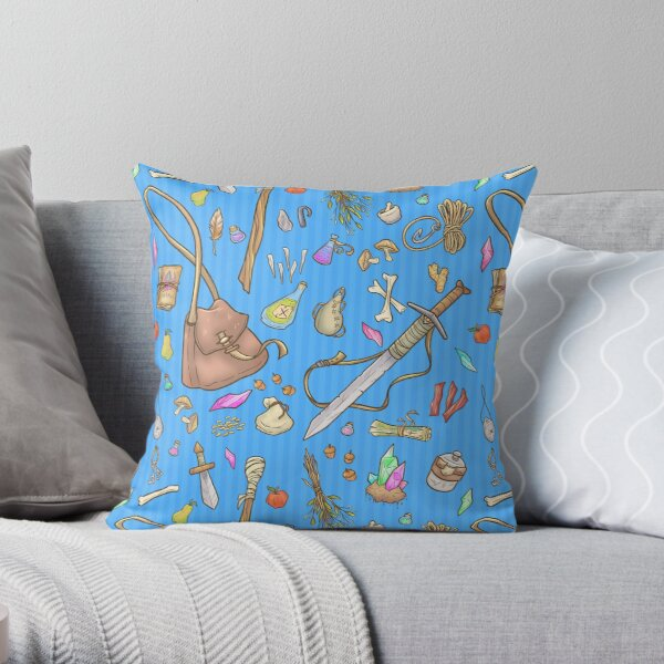 Dangerous To Go Alone - D&D Inventory (blue) Throw Pillow