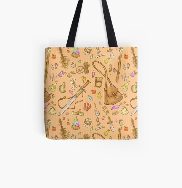 Dangerous To Go Alone - D&D Inventory (gold) All Over Print Tote Bag