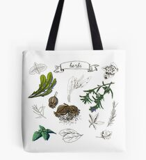illustration set with hand drawn herbs Tote Bag