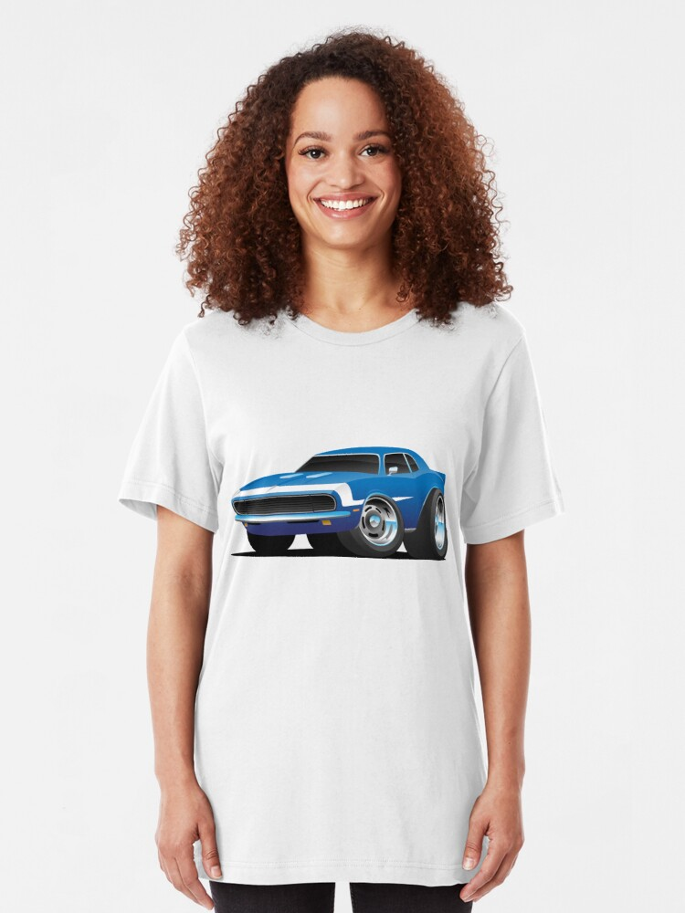 Alternate view of Classic Sixties Style American Muscle Car Hot Rod Cartoon Slim Fit T-Shirt
