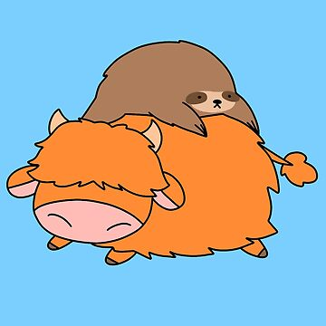 Sloth and Highland Cow by SaradaBoru