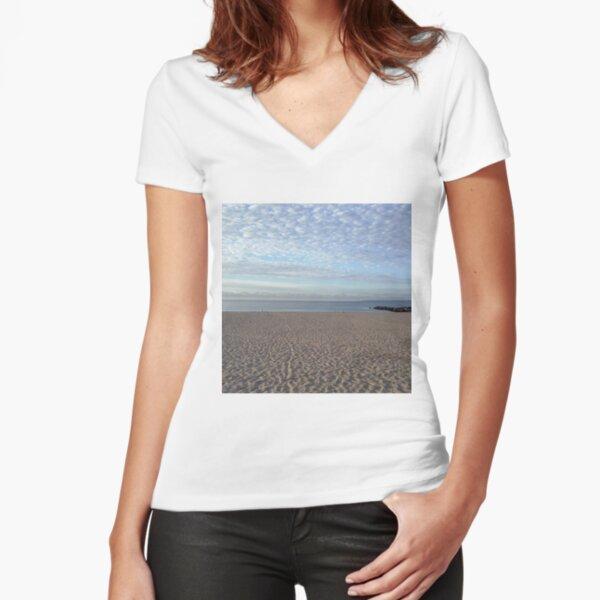 #Sand #beach #sea #sky #sand #water #ocean #coast #blue #nature #summer #landscape #clouds #wave #shore #seaside #cloud #coastline #horizon #travel #seascape #vacation #sunset Fitted V-Neck T-Shirt