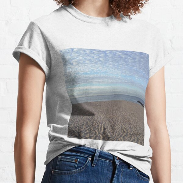 #Sand #beach #sea #sky #sand #water #ocean #coast #blue #nature #summer #landscape #clouds #wave #shore #seaside #cloud #coastline #horizon #travel #seascape #vacation #sunset Classic T-Shirt