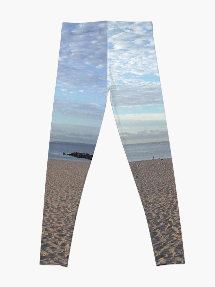 Alternate view of #Sand #beach #sea #sky #sand #water #ocean #coast #blue #nature #summer #landscape #clouds #wave #shore #seaside #cloud #coastline #horizon #travel #seascape #vacation #sunset Leggings